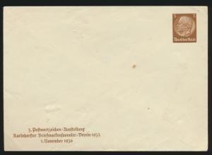 Reich Privatganzsache Umschlag PU 127 C1 Hindenburg Karlsdorf Ausstellung