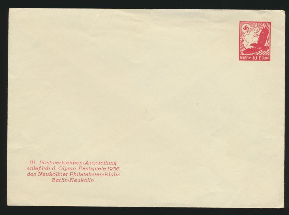 Reich Privatganzsache Umschlag PU 143 C 1 Flugpost Ausstellung Berlin Neukölln 0