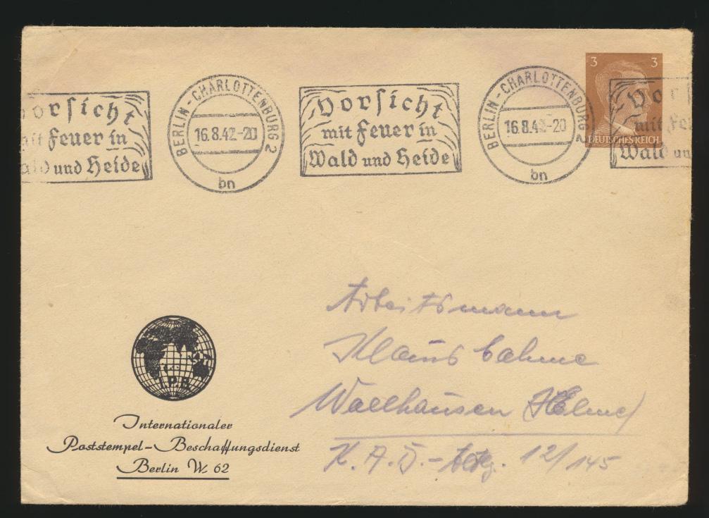 Reich Privatganzsache PU 147 B 1 03 Hitler Berlin Vorsicht Feuer Wald und Heide 0