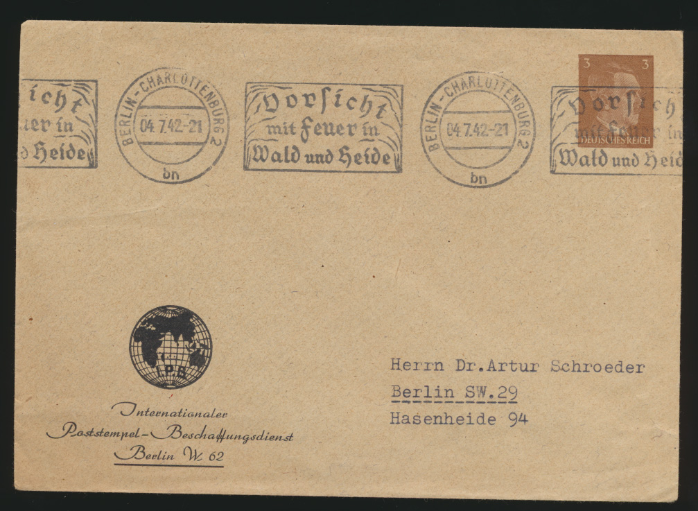 Reich Privatganzsache PU 147 B 1 02 Hitler Berlin Vorsicht Feuer Wald und Heide 0