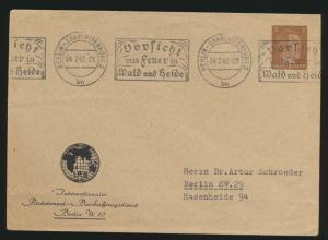 Reich Privatganzsache PU 147 B 1 02 Hitler Berlin Vorsicht Feuer Wald und Heide
