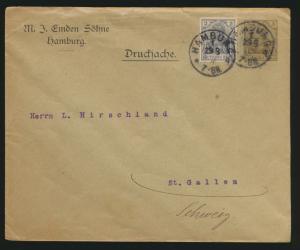 Reich Privatganzsache PU 25 B 29 01 Emden Söhne Hamburg St. Gallen Schweiz