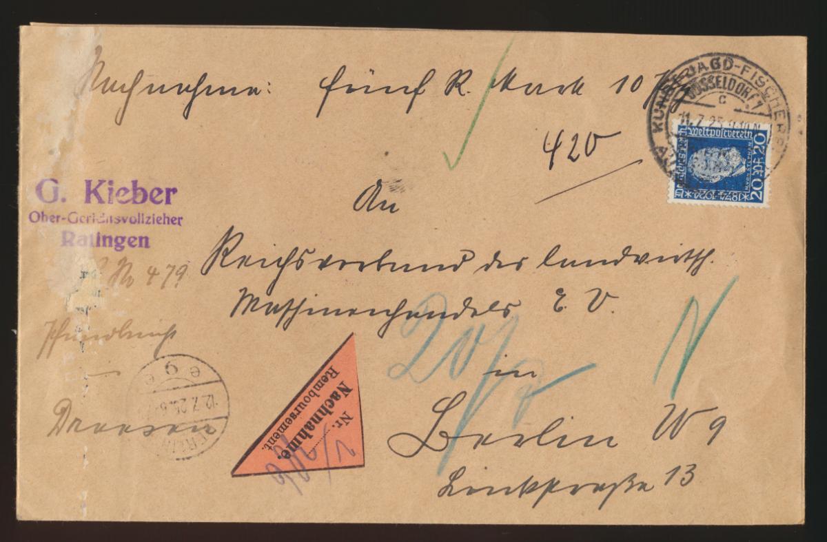 Reich Nachnahme Brief 369 SST Kunst Jagd + Fischerei Aussstellung Düsseldorf  0