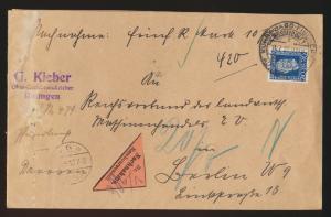 Reich Nachnahme Brief 369 SST Kunst Jagd + Fischerei Aussstellung Düsseldorf