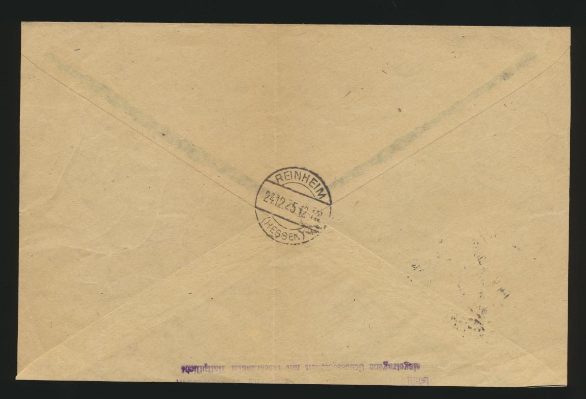 Reich R Brief MEF 374 Rheinland ab Reichelsheim nach Reinheim 1
