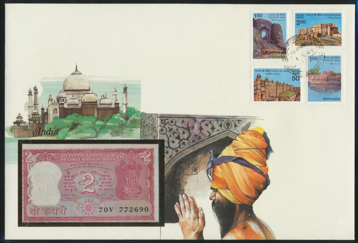 Geldschein Banknote Banknotenbrief Indien India Asia exotisches Motv  0