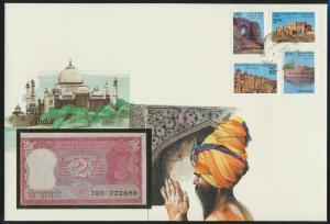 Geldschein Banknote Banknotenbrief Indien India Asia exotisches Motv