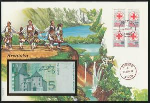 Geldschein Banknote Banknotenbrief Kroatien Croatia Hrvatska exotisches Motv