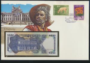 Geldschein Banknote Banknotenbrief Uruguay exotisches Motv