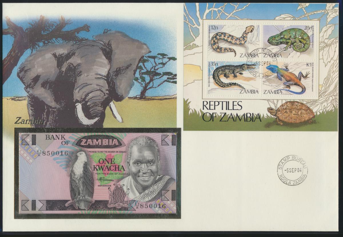 Geldschein Banknote Banknotenbrief Sambia Zambia Afrika Africa Tiere Eidechsen  0