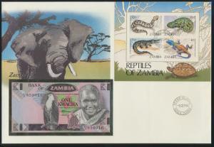 Geldschein Banknote Banknotenbrief Sambia Zambia Afrika Africa Tiere Eidechsen