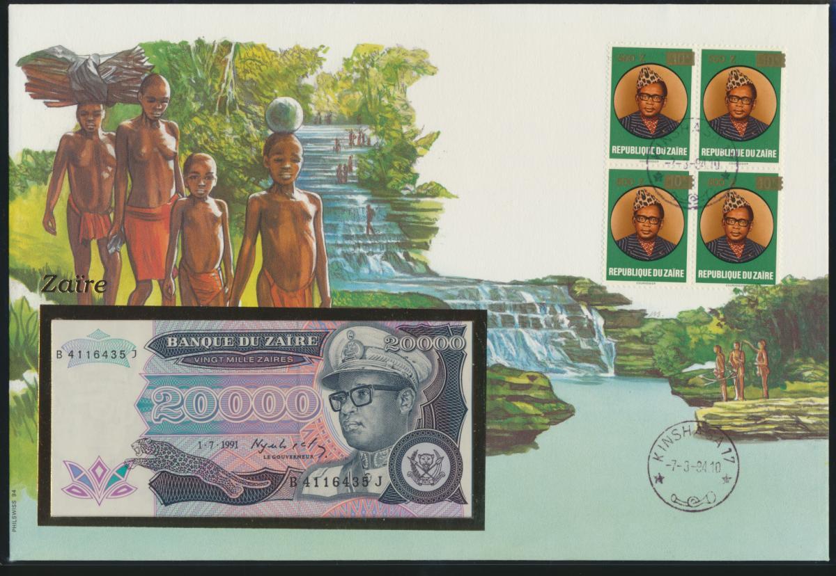 Geldschein Banknote Banknotenbrief Zaire Kongo Afrika Africa exotisches Motiv 0