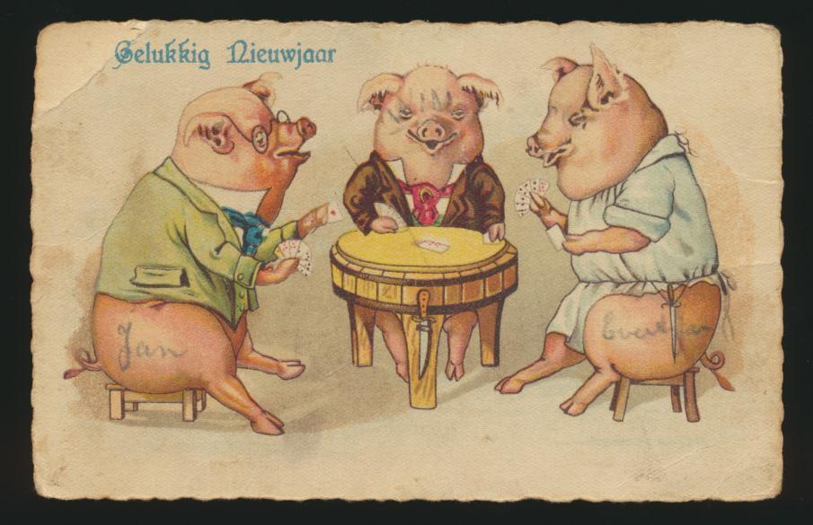 Ansichtskarte Schweine Glücksschweine Tiere eine alte + 4 Reprint um 1900 2
