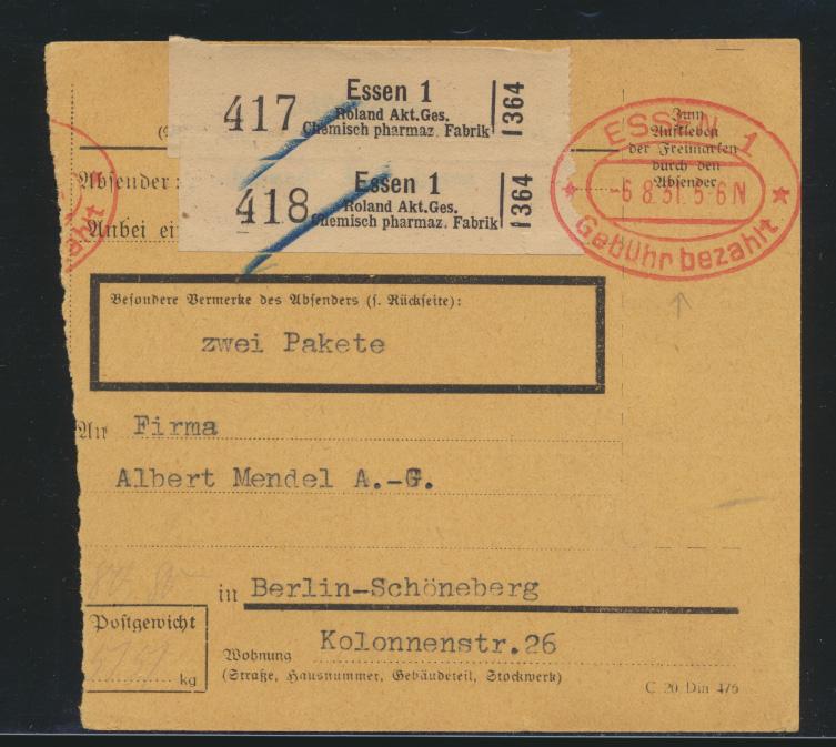 D. Reich Brief Paketkarten Abschnitt Essen Gebühr bezahlt nach Berlin Schöneburg 0