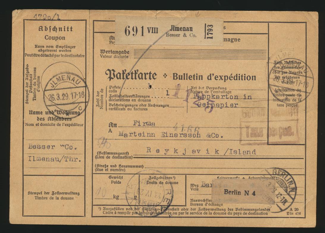 D. Reich Brief Paketkarte Ilmenau Gebühr bezahlt taxe perçue n. Raykjavik Island 0