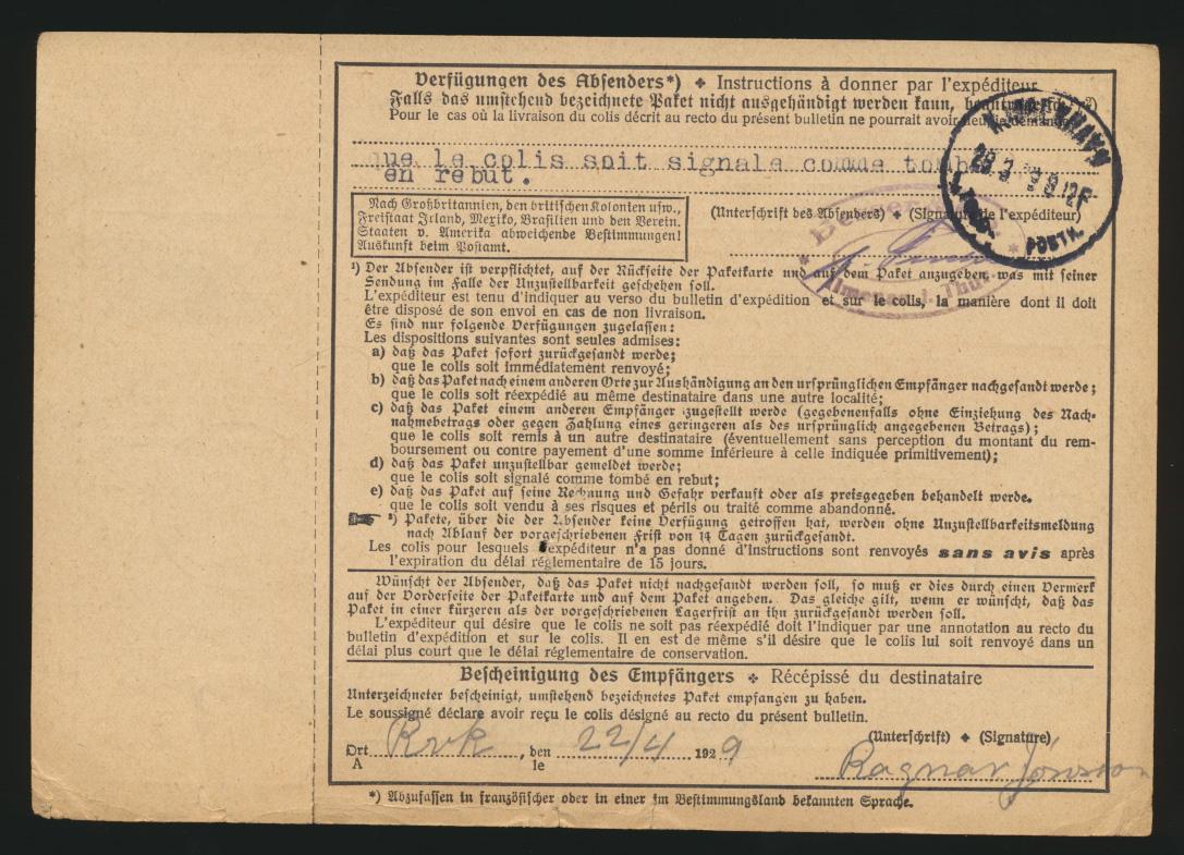 D. Reich Brief Paketkarte Ilmenau Gebühr bezahlt taxe perçue n. Raykjavik Island 1