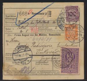 D Reich Brief Paketkarte MIF Remscheid via Wien n. Vukovar Stadt Kroatien