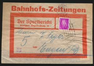 Reich Brief EF 435 Reichspräsidenten auf Bahnhofszeitung Sportbericht Stuttgart