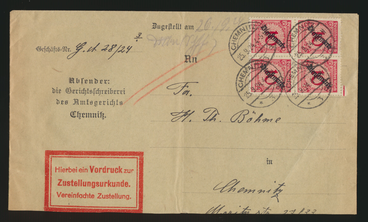 Reich Brief MEF Dienst D 101 Viererblock Chemnitz auf Zustellurkunde 25.9.1924 0