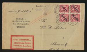 Reich Brief MEF Dienst D 101 Viererblock Chemnitz auf Zustellurkunde 25.9.1924