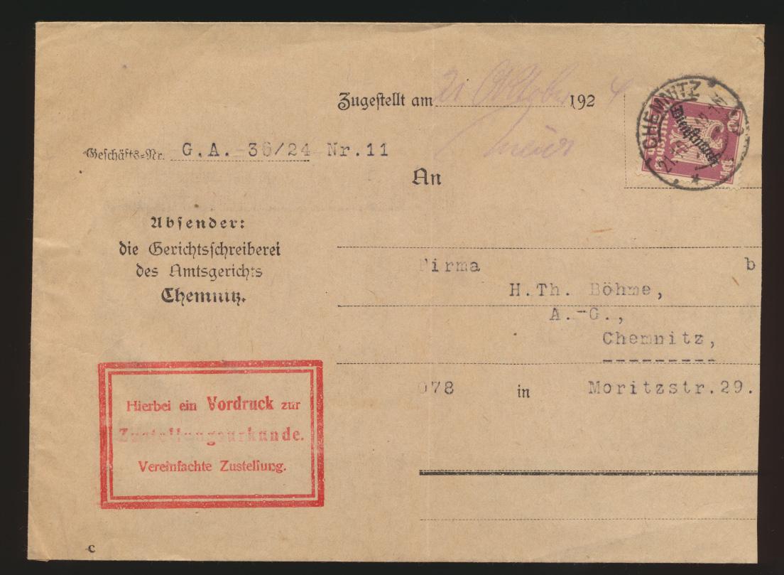 Deutsches Reich Brief EF Dienst D 109 auf Zustellurkunde Chemnitz 21.10.1926 0