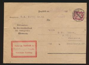 Deutsches Reich Brief EF Dienst D 109 auf Zustellurkunde Chemnitz 21.10.1926
