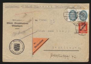 Reich Nachnahme Brief Dienst D 119 Paar 107 Strohhutmuster Göppingen Reutlingen