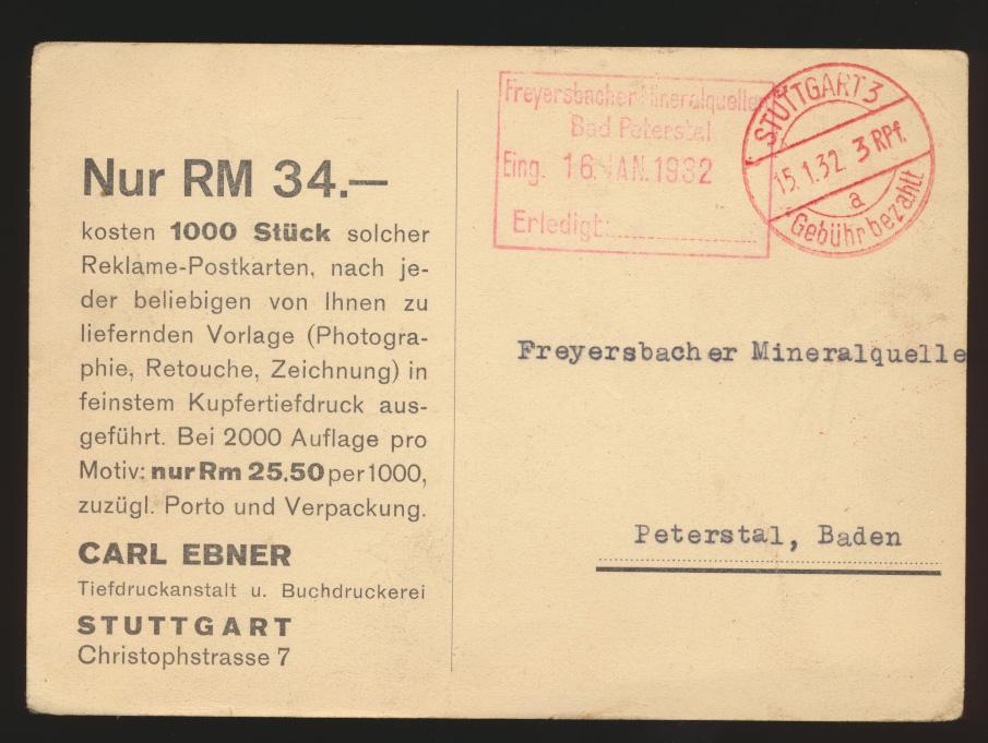 Reich K2 Stuttgart Gebühr bezahlt 3 Rpf. auf Kunst Ansichtskarte nach Peterstal 0
