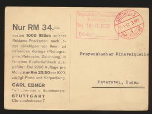 Reich K2 Stuttgart Gebühr bezahlt 3 Rpf. auf Kunst Ansichtskarte nach Peterstal