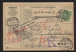 Reich Brief Paketkarte Zoll MIF 361 Adler Nachgebühr Berlin St. Gallen Schweiz
