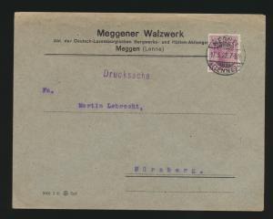 Deutsches Reich Lochung Perfin Brief EF 146 I Meggener Walzwerk Meggen geprüft