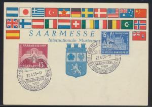 Saarland Brief 446-447 schöne Anlasskarte Deutsch Frankreich Austauschmesse 1959