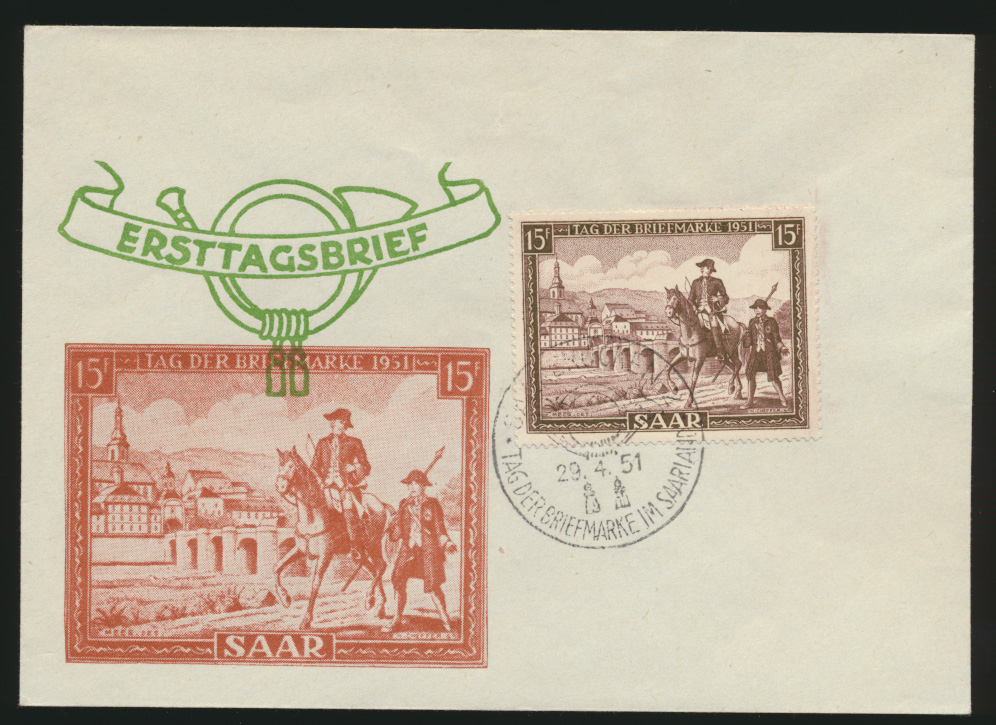 Saarland Brief 305 Postreiter Tag der Briefmarke FDC Kat.-Wert 50,00  0