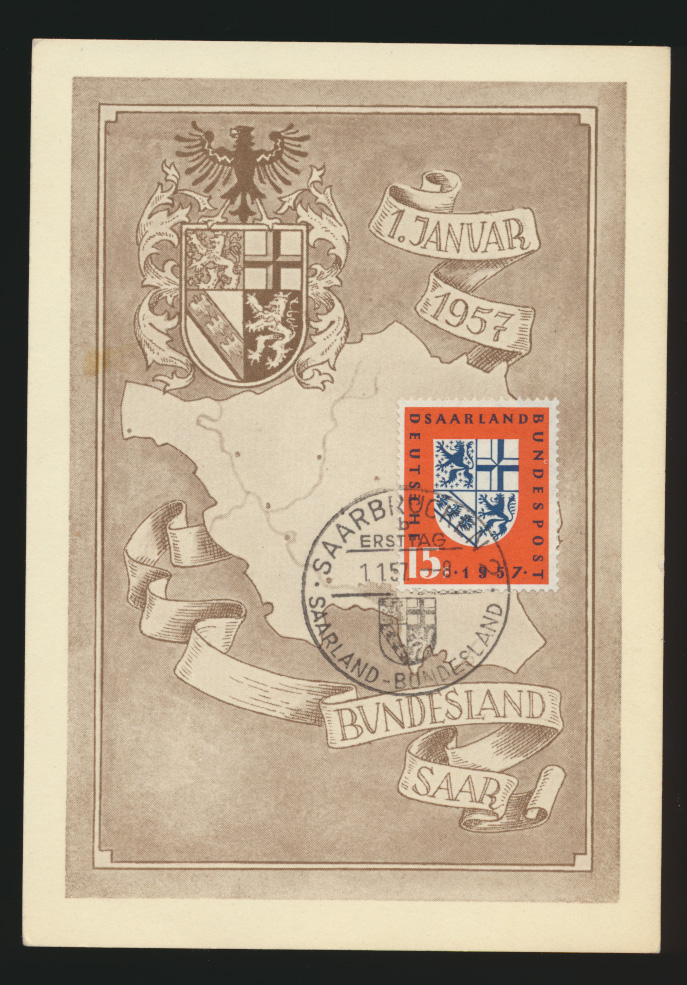 Saarland Brief 379 Eingliederung in die BRD auf toller Anlasskarte 0