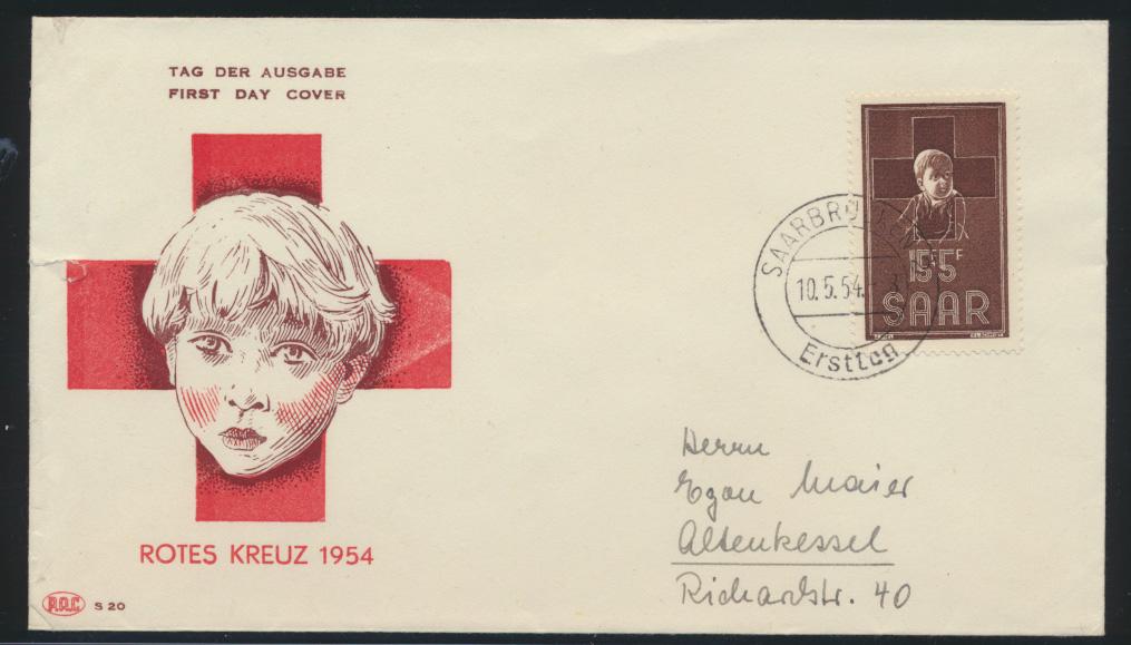 Saarland Brief 350 Rotes Kreuz Kind FDC  0