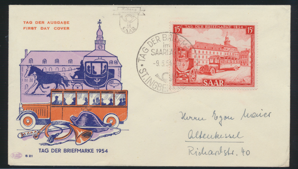 Saarland Brief 349 Tag der Briefmarke FDC von St. Ingbert nach Altenkessel 0