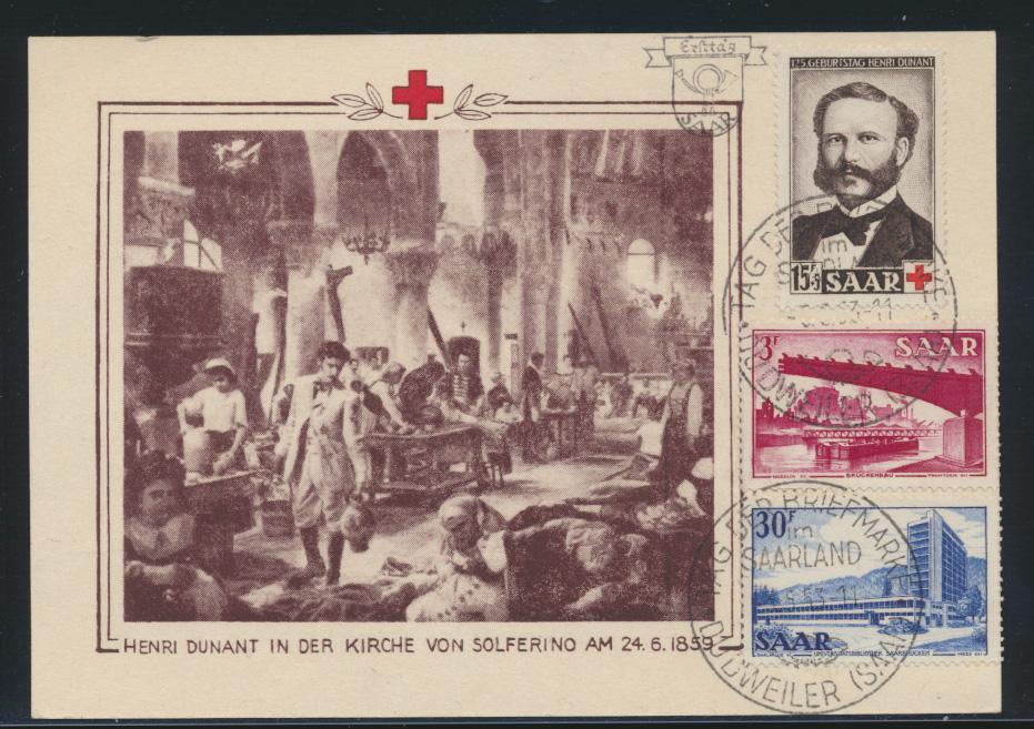 Saarland 343 Rotes Kreuz Dunant Ansichten 321-332 auf selt FDC Anlaßkarte 670,00 0
