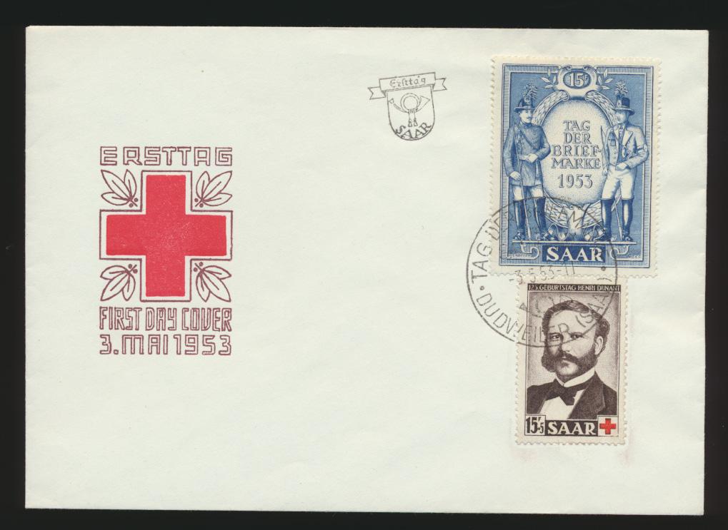 Saarland 342-343 Rotes Kreuz Dunant Friedensnobelpreisträger Tag der Briefmarke  0