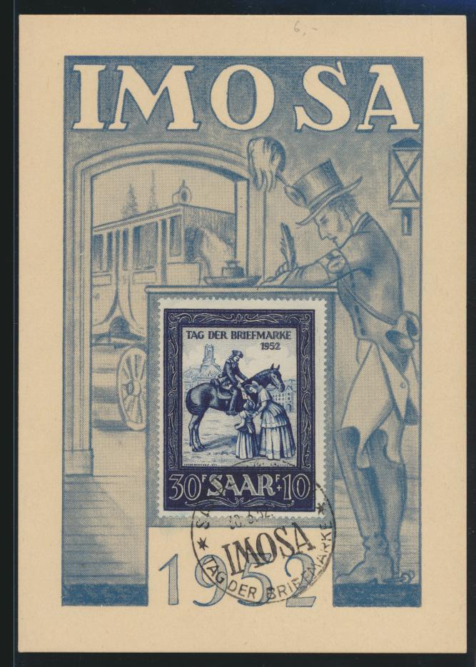 Saarland Brief 316 IMOSA schöne Anlaßkarte Postreiter FDC Saarbrücken Briefmarke 0