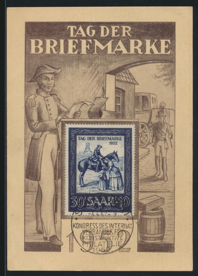 Saarland Brief 316 IMOSA gute Anlaßkarte Postreiter SST Kongress Philatelie 0