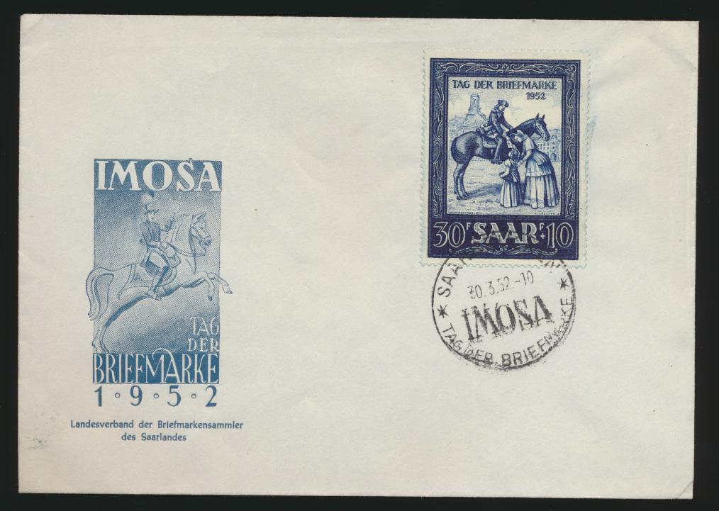 Saarland Brief 316 IMOSA Saarbrücken Tag der Briefmarke Philatelie FDC 0