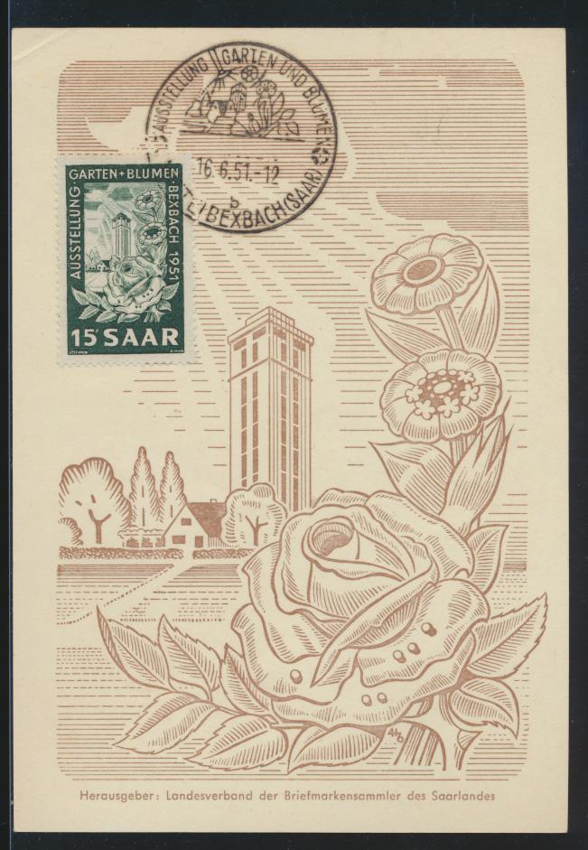 Saarland Brief 307 gute Anlaßkarte Ausstellung Garten Blumen Maximumkarte FDC 0