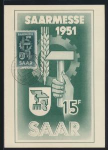 Saarland Brief 306 gute Anlaßkarte Saarmesse als Maximumkarte FDC