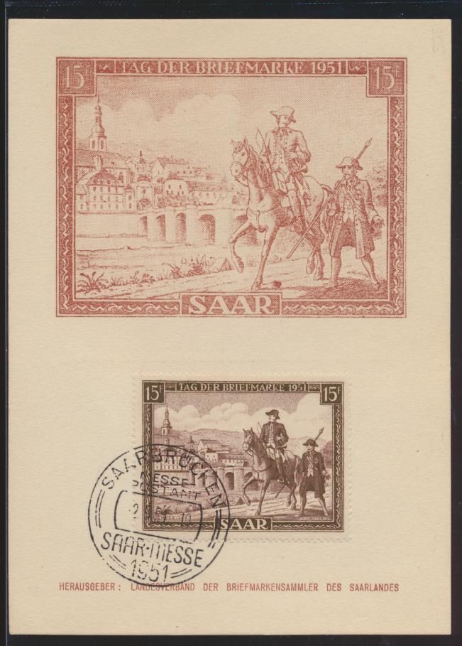 Saarland Brief 305 T.d. Briefmarke Postreiter schöne Anlaßkarte Maximumkarte FDC 0