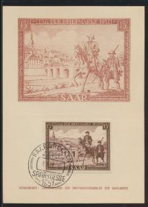 Saarland Brief 305 T.d. Briefmarke Postreiter schöne Anlaßkarte Maximumkarte FDC