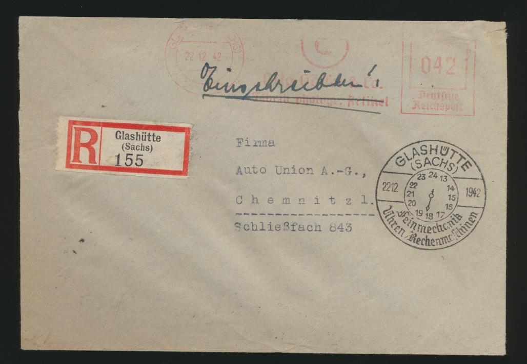 Deutsches Reich R Brief Absenderfreistempel Glashütte 042  Motivstempel Uhren  0