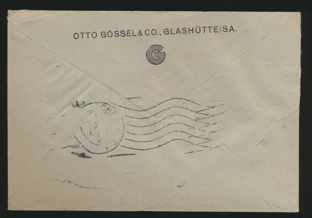 Deutsches Reich R Brief Absenderfreistempel Glashütte 042  Motivstempel Uhren  1
