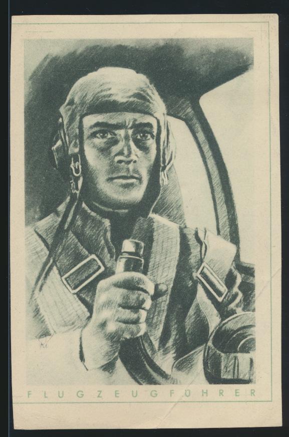 Flugpost air mail Deutsches Reich Ansichtskarte Flugzeugführer selten die  0