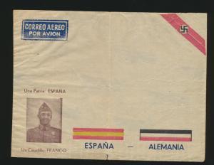 Spanien Deutsches Reich Propaganda Umschlag Franco 3. Reich Flugpost Flugzeuge