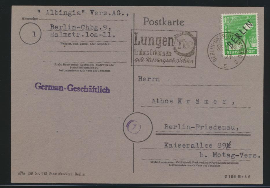 Berlin Brief EF 4 Schwarzaufdruck Werbestempel Lungen TBC auf Karte n. Friedenau 0
